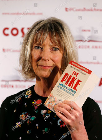Lucy Hughes-Hallett Costa Book of the Year shortlisted authors Lucy Hughes-Hallett poses with her book The Pike: Gabriele D'Annunzio, Poet, Seducer and Preacher of War during the award ceremony in London