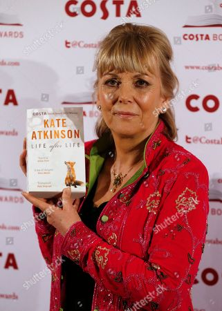 Stock Image of Kate Atkinson Costa Book of the Year shortlisted author Kate Atkinson poses with her book Life After Life during the award ceremony in London