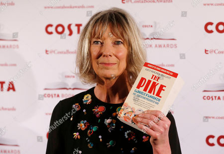 Stock Picture of Lucy Hughes-Hallett Costa Book of the Year shortlisted authors Lucy Hughes-Hallett poses with her book The Pike: Gabriele D'Annunzio, Poet, Seducer and Preacher of War during the award ceremony in London