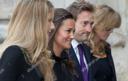 Pippa Middleton, second left, and broadcaster Ben Fogle, second right, arrives for the Sir David Frost memorial service at Westminster Abbey in London, . British broadcaster David Frost died in August 2013, one of his most famous interviews was with President Richard Nixon