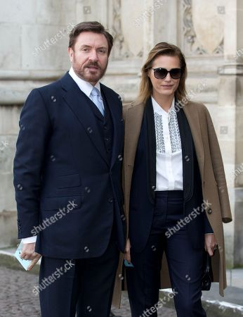 British singer Simon Le Bon with his wife model Yasmin arrive for the Sir David Frost memorial service at Westminster Abbey in London, . British broadcaster David Frost died in August 2013, one of his most famous interviews was with President Richard Nixon