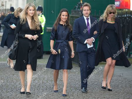 Pippa Middleton, second left, and broadcaster Ben Fogle, second right, arrives for the Sir David Frost memorial service at Westminster Abbey in London,. British broadcaster David Frost died in August 2013, one of his most famous interviews was with President Richard Nixon