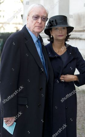 British actor Michael Caine and his wife Shakira arrive for the Sir David Frost memorial service at Westminster Abbey in London, . British broadcaster David Frost died in August 2013, one of his most famous interviews was with President Richard Nixon