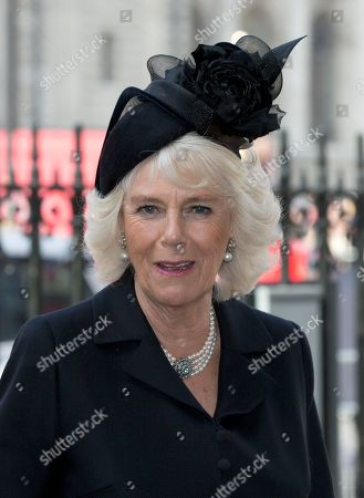 Camilla, Duchess of Cornwall arrives for the Sir David Frost memorial service at Westminster Abbey in London,. British broadcaster David Frost died in August 2013, one of his most famous interviews was with President Richard Nixon