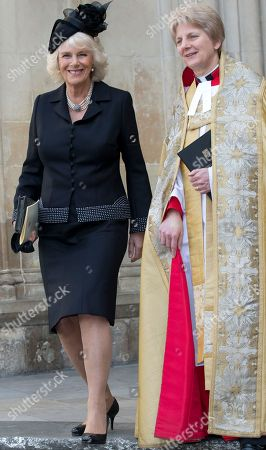 Camilla Duchess of Cornwall leaves the Sir David Frost memorial service at Westminster Abbey in London, . British broadcaster David Frost died in August 2013, one of his most famous interviews was with President Richard Nixon