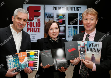 "British poet Lavinia Greenlaw, center, who is chairing the judging panel of the Folio book prize, accompanied by Andrew Kidd, left, founder of the Folio Prize and Toby Hartwell, right, Managing Director of the Folio Society, pose for photographers during a photo call following a news conference, in central London, . The 40,000 British pound (some 66,000 US dollars) Folio Prize is open to any work of fiction published in UK in 2013. The eight finalists of the literary prize announced Monday, include five books by U.S. writers: ""Schroder"" by Amity Gaige; ""Benediction"" by Kent Haruf; ""The Flamethrowers"" by Rachel Kushner; ""A Naked Singularity"" by Sergio De La Pava; and ""Tenth of December"" by George Saunders. There is also Canadian Anne Carson's ""Red Doc"" and two books by Britain-based writers - Jane Gardam's ""Last Friends,"" and Eimear McBride's ""A Girl is a Half-Formed thing"". The winner will be announced March 10, 2014 in London"