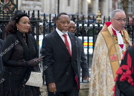 Deputy President of South Africa Kgalema Motlanthe, centre, arrives for the Nelson Mandela memorial service at Westminster Abbey in London Monday, March, 3, 2014. Mandela the former president of South Africa died in December 2013