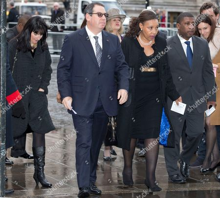 Daughter of the late Nelson Mandela, Zenani Mandela-Dlamini, centre, arrives for the Nelson Mandela memorial service at Westminster Abbey in London Monday, March, 3, 2014. Mandela the former president of South Africa died in December 2013