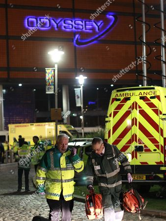 Ambulance crews attend a major incident after up to 60 young people attending a concert at the Odyssey Arena, Belfast, Northern Ireland were taken ill and treated for the effects of drugs and alcohol . The incident happened during a dance event by Dutch DJ Hardwell
