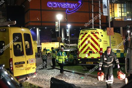 Ambulance crews attend a major incident after up to 60 young people attending a concert at the Odyssey Arena, Belfast, Northern Ireland were taken ill and treated for the effects of drugs and alcohol, . The incident happened at a dance event by Dutch DJ Hardwell