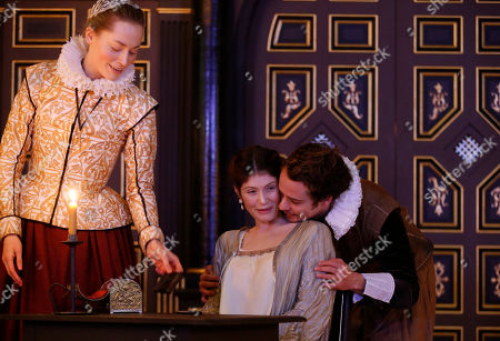 Gemma Arterton, Alex Waldmann, Sarah MacRae Gemma Arterton as The Duchess of Malfi, center, Alex Waldmann as Antonio, right, and Sarah MacRae as Cariola act in a scene from the play 'The Duchess of Malfi' during a photocall in the Shakespeare's Globe new indoor theatre Sam Wanamaker Playhouse in London, . The theatre is a reproduction of a Jacobean playhouse and it seats 340 people with two tiers of galleried seating and an historically accurate pit seating area