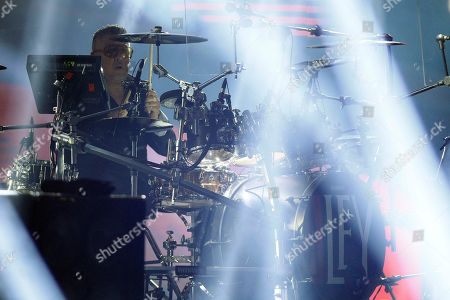 Stock Photo of La Ley Drummer for the Chilean band La Ley, Mauricio Claveria, performs at the Vina del Mar International Song Festival in Vina del Mar, Chile, . Believed to be one of the largest musical events in Latin America, the annual weeklong festival was first inaugurated in 1960