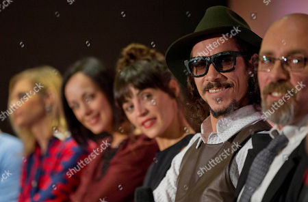 Ana Layevska, Gabriela de la Garza, Ilse Salas, Oscar Jaenada, Sebastian del Amo The cast and crew of Cantinflas, a biopic about the life of Mario Moreno, one of Mexico's most famous actors of all time, answer questions from journalists during a press conference to promote the film's release, in Mexico City, Mexico. From left, are actress Ana Layevska, actress Gabriela de la Garza, actress Ilse Salas, lead actor Oscar Jaenada, and director Sebastian del Amo. The film Cantinflas and Spanish actor Oscar Jaenada where given an ACE award by The Association of Latin Entertainment Critics of New York on