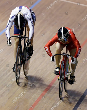 Jessica Varnish, Junhong Lin Great Britain's Jessica Varnish, left, and China's Junhong Lin compete in the women's sprint during the Track Cycling World Championships in Cali, Colombia, . Junhong Lin won the bronze medal