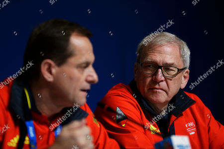 Michael Vesper, Alfons Hormann Michael Vesper, director general of the German Olympic Sports Confederation, right, looks on as President Alfons Hormann, left, speaks at a press conference in response to a top German biathlete testing positive for doping at the 2014 Winter Olympics, in Sochi, Russia