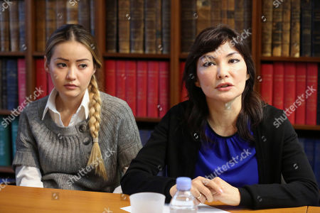 Mukhtar Ablyazov's wife Alma Shalabayeva, right, and daughter Madina Ablyazova, left, speak with journalists, during a press conference held with her lawyers, in Paris, . An opposition leader from a country that has been ruled by the same man since 1989, a former banker accused of siphoning off billions, Mukhtar Ablyazov has been jailed since police special forces seized him July 31 in the south of France