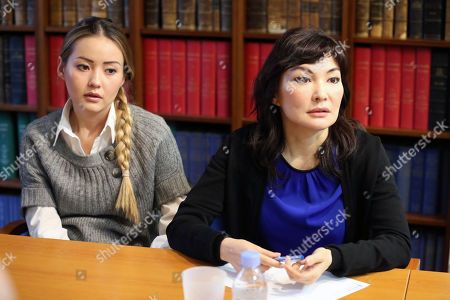 Mukhtar Ablyazov's wife Alma Shalabayeva, right, and daughter Madina Ablyazova, left, speak with journalists, during a press conference held with her lawyers, in Paris . An opposition leader from a country that has been ruled by the same man since 1989, a former banker accused of siphoning off billions, Mukhtar Ablyazov has been jailed since police special forces seized him July 31 in the south of France