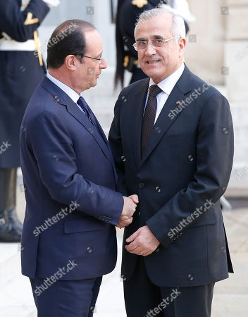 Francois Hollande, Michel Sleiman France's President Francois Hollande, left, welcomes Lebanon's President Michel Sleiman for a meeting of the International Support Group for Lebanon, at the Elysee Palace in Paris