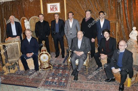 """From left to right, author Robert Edsel, US actors Bill Murray, Matt Damon, George Clooney, French Actor Jean Dujardin, Harry Ettlinger, John Goodman, Grant Heslov, Dimitri Leonidas and Bob Balaban, attends the French Premiere of """"The Monuments Men"""" in Paris"""
