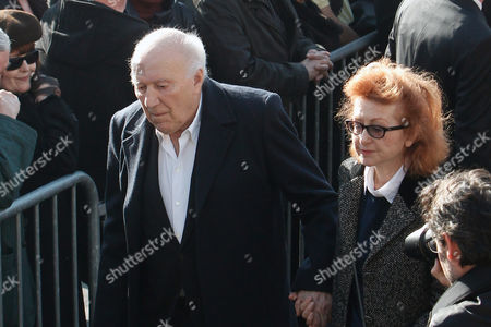 French actor Michel Piccoli, left, arrives to attend the funeral of French director Alain Resnais in the Saint Vincent de Paul church in Paris, . The French director died at age 91 on march 1, 2014, in Paris