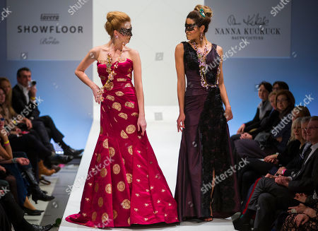 Models present creations of Berlin-based German fashion designer Nanna Kuckuck during the Mercedes Benz Fashion Week in Berlin, Germany