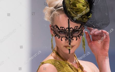 A model presents a creation of Berlin-based German fashion designer Nanna Kuckuck during the Mercedes Benz Fashion Week in Berlin, Germany