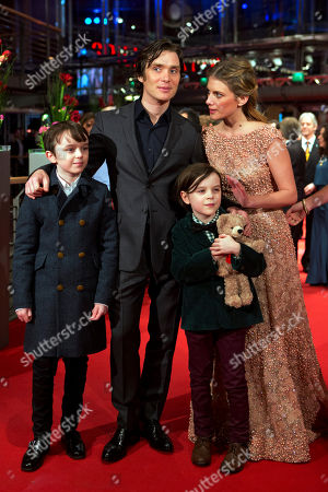 From left, actors Zen McGrath, Cillian Murphy, Melanie Laurent and Winta McGraph pose for photographers on the red carpet for the film Aloft during the International Film Festival Berlinale in Berlin