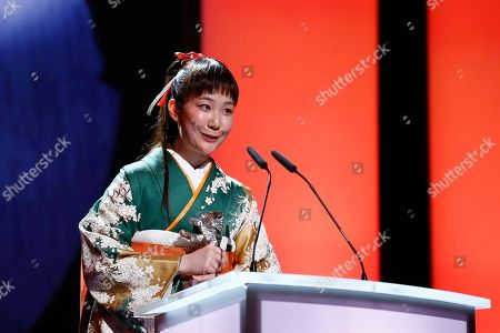 Actress Haru Kuroki receives the Silver Bear as Best Actress for the movie The Little House during the award ceremony at the International Film Festival Berlinale in Berlin