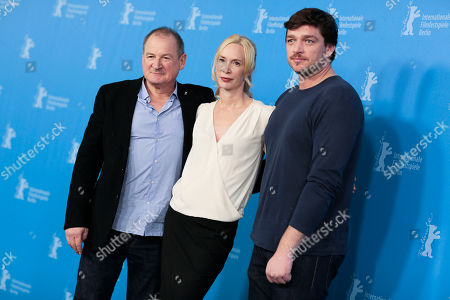 From right, the actor Burghart Klau?ner, director Feo Aladag and actor Ronald Zehrfeld pose for photographers at the photo call for the film Inbetween Worlds at the Berlinale International Film Festival in Berlin