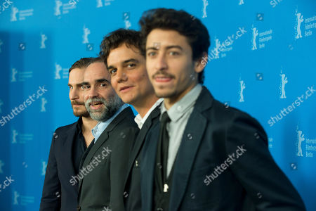 From left actor Clemens Schick, director Karim Ainouz, actors Wagner Moura and Jesuita Barbosa pose for photographers at the photo call for the film Praia Do Futuro during the International Film Festival Berlinale in Berlin
