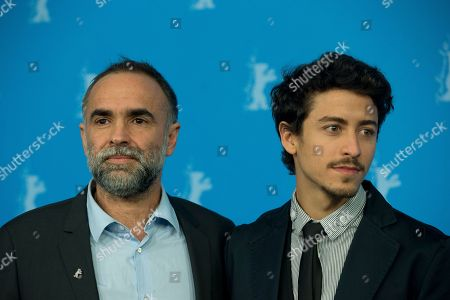 Director Karim Ainouz and actor Jesuita Barbosa pose for photographers at the photo call for the film Praia Do Futuro during the International Film Festival Berlinale in Berlin
