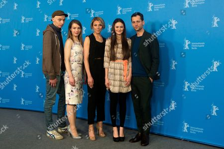 From left, director Dietrich Bruggemann, screenwriter Anna Bruggemann, actors Franziska Weisz, Lea van Acken and Florian Stetter pose for photographers at the photo call for the film Station Of The Cross at the International Film Festival Berlinale in Berlin