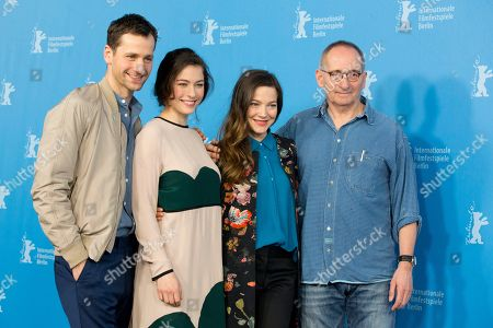 From left, actors Florian Stetter, Henriette Confurius, Hannah Herzsprung and director Dominik Graf pose for photographers at the photo call for the film The Beloved Sisters during the 64th Berlinale International Film Festival,, in Berlin
