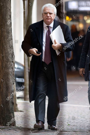 """Forza Italia"""", Go Italy, party coordinator Denis Verdini arrives for a meeting at the party headquarters, in Rome, . Rome, Friday, Jan. 10, 2014"""