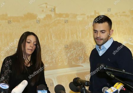 """Stock Image of Stephanie Kercher, Lyle Kercher Meredith Kercher's sister Stephanie, left, and brother Lyle, arrive for a press conference in Florence, Italy, the day after an appeals court sentenced Amanda Knox to 28 ½ years in prison and her former boyfriend Raffaele Sollecito to 25 years for the 2007 murdering of Meredith Kercher in Perugia, central Italy. For Kercher's family, the verdict was another step in what has been more than six years of uncertainty about how Meredith died and finding justice. """"I think we are still on the journey of the truth and it may be the fact that we don't ever really know what happened that night, which will be something we have to come to terms with,"""" said Stephanie Kercher"""