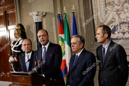 Renato Schifani Angelino Alfano Maurizio Sacconi Enrico Costa Nuovo Centrodestra (New Centre-Right) party' s leader Angelino Alfano, second from left, flanked by senators Renato Schifani, left, and Maurizio Sacconi, and lawmaker Enrico Costa, right, talks to journalists after talks with Italian President Giorgio Napolitano, at the Quirinale presidential palace, in Rome, . Napolitano is consulting with political party leaders to determine if Democratic Party leader Matteo Renzi has enough support to form a new government. Renzi, 39, accelerated his path to the premier's post this week by engineering Enrico Letta's resignation within the party