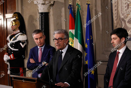 Lorenzo Guerini Luigi Zanda Roberto Speranza Italian Democratic Party's senator Luigi Zanda, center, flanked by lawmakers Roberto Speranza, right, and Lorenzo Guerini arrive to meet journalists after talks with Italian President Giorgio Napolitano, at the Quirinale presidential palace, in Rome, . Napolitano is consulting with political party leaders to determine if Democratic Party leader Matteo Renzi has enough support to form a new government. Renzi, 39, accelerated his path to the premier's post this week by engineering Enrico Letta's resignation within the party