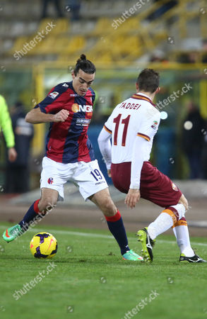Bologna's Lazaros Christodoulopoulos, left, vies for the ball with AS Roma's Rodrigo Taddei during the Italian Serie A soccer match between Bologna and Roma at Renato Dall' Ara stadium in Bologna, Italy