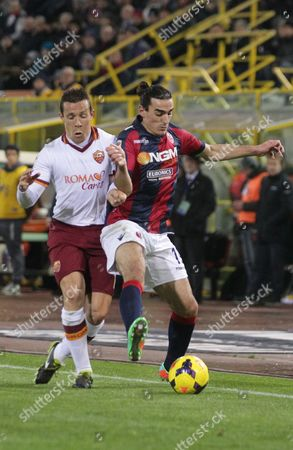 Bologna's Lazaros Christodoulopoulos, right, vies for the ball with AS Roma's Rodrigo Taddei during the Italian Serie A soccer match between Bologna and Roma at Renato Dall' Ara stadium in Bologna, Italy