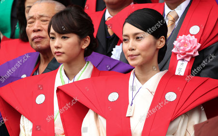 Miki Nakatani, Mirei Kiritani Japanese actresses Miki Nakatani, right, and Mirei Kiritani, left, attend Setsubun, or the annual bean-throwing festival, marking the start of spring according to the lunar calendar, at Naritasan Shinsho Temple in Narita, east of Tokyo, . The ritual of the bean-throwing ceremony believed to bring good luck was performed to mark the beginning of the spring in the Lunar New Year