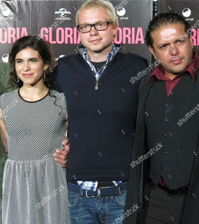 "Christian Keller Mexican actress Sofia Espinosa, left, Swiss director Christian Keller, center, and Mexican actor Marco Pérez, pose for pictures during a press conference to present the film ""Gloria"" in Mexico City on . The movie, based on the life of Mexican pop singer Gloria Trevi, will open in Mexico September 5"
