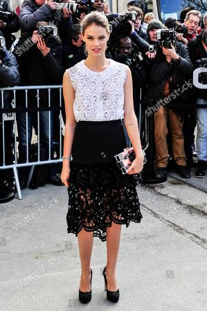 Laura Neiva arrives for Chanel's ready to wear fall/winter 2014-2015 fashion collection presented in Paris
