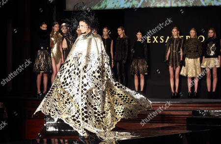 Stock Photo of A model wears a creation for Tex Saverio's ready to wear fall/winter 2014-2015 fashion collection presented in Paris, Tuesday, Feb.25, 2014