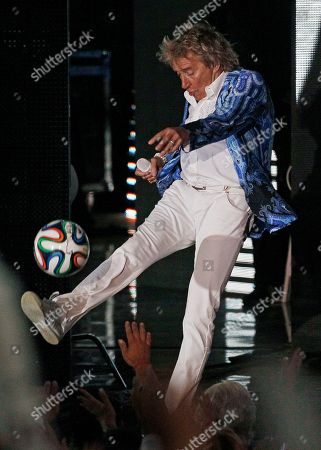 """Rod Stewart Singer Rod Stewart kicks a soccer ball to the crowd as he performs at the Vina del Mar International Song Festival in Vina del Mar, Chile. Rod Stewart is well-known for his love of soccer, especially the Celtic Football Club in Glasgow, Scotland. Hockey, it turns out, is another matter. """"All he knows is if my team scores. That's about it,"""" said his son, Liam Stewart. """"I was like, 'Dad, that's all you need to know _ if we win or if we score.'"""" Liam Stewart, 21, is the newest addition to the roster of the Alaska Aces, an ECHL development league team affiliated with the Minnesota Wild of the NHL"""