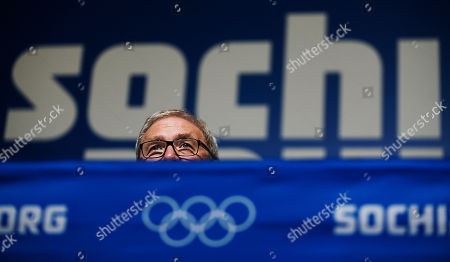 """Michael Vesper Michael Vesper, director general of the German Olympic Sports Confederation, looks over a table during a press conference in response to a top German biathlete testing positive for doping at the 2014 Winter Olympics, in Sochi, Russia. Former two-time Olympic gold medalist Evi Sachenbacher-Stehle tested positive for the stimulant methylhexanamine in both her """"A'' and """"B'' samples, the German Olympic Committee said"""