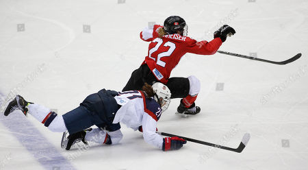 Stock Image of USA goalkeeper Brianne McLaughlin (29) cross checks Hayley Wickenheiser of Canada (22) during overtime in the women's gold medal ice hockey game at the 2014 Winter Olympics, in Sochi, Russia