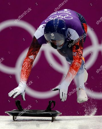Kristan Bromley of Great Britain starts hisduring the men's skeleton training at the 2014 Winter Olympics, in Krasnaya Polyana, Russia