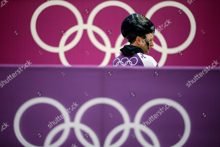 Kristan Bromley of Great Britain prepares to start a run during a training session for men's skeleton at the 2014 Winter Olympics, in Krasnaya Polyana, Russia