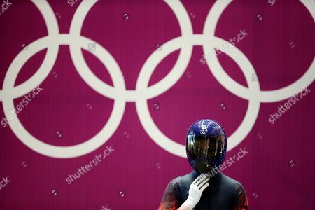 Shelley Rudman of Great Britain prepares to start a training run for the women's skeleton during the 2014 Winter Olympics, in Krasnaya Polyana, Russia