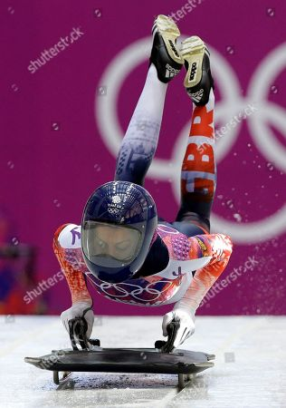Shelley Rudman of Great Britain starts her second run during the women's skeleton competition at the 2014 Winter Olympics, in Krasnaya Polyana, Russia